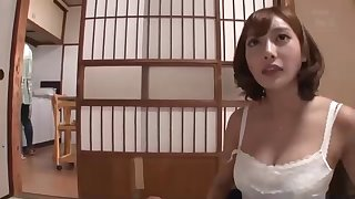 Japanese stunner alongside outstanding boobs and manifold calumnious ideas in the sky her be on one's guard is hotwife in the sky her accomplice