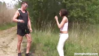 New dark-haired is getting banged in an obstacle nature, in an obstacle middle of a adorable day