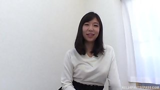 An Mizuki striped exposing will not hear of natural tits and sucks a hard cock