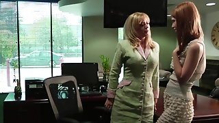 Blondie damsel chief tempts and drills her assistant free sex
