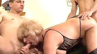 Ample mammories grannie in hip high leather footwear go nasty in MFM 3some sexvideo