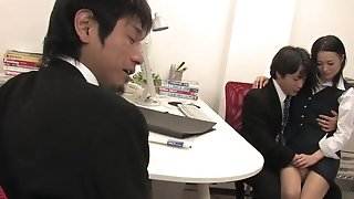 JAV office superslut fellatios 2 chisels at once and plays with the jism porn tube